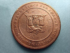 Old Two Penny, Norwich Two Penny Piece, (41mm) (See Pics)