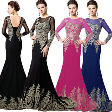 Long Black Formal Ladies Evening Gowns Long Sleeve Applique Pageant Prom Dresses