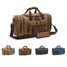 2016 Genuine Leather Canvas Duffle Weekend Overnight Travel Bag Holdall Luggage