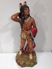 Vintage Large Native American Warrior Indian Statue Hand Painted 1976 Art Decor