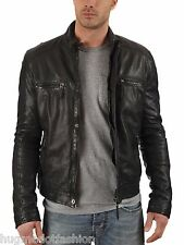 Black Color Genuine Leather Jacket For Men In Black Jakcet