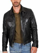 Black Color 2 Chest Pocket Jacket In Black Fabric Genuine Leather Jacket