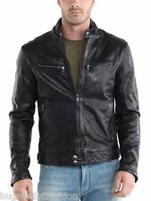Genuine Leather Jacket WIth Anbow Stud Collar In Black For Men's