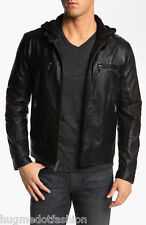 Genuine Leather Jacket Black Color For Men Whit Cap Head Closer Jacket