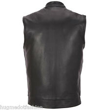 Attractive Biker Waistcoat Genuine Leather for Men, Black, Brown & Tan
