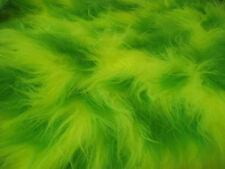 LONG Pile Fun Faux Fur Fabric Material FLO YELLOW & LIME MIX