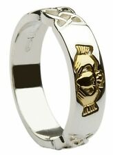 Silver and Gold Irish Celtic Claddagh 5mm Wedding Band Ring Made In Ireland