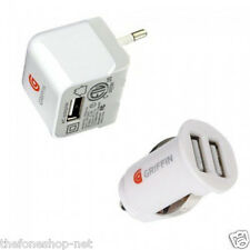 Griffin SP5Q USB Wall Charger + Griffin P2275 Dual USB Car Charger, White &Black