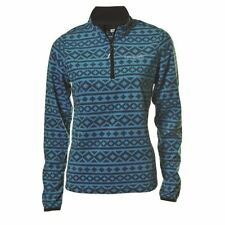 Catmandoo Womens Micro Fleece Top - Lightweight Blue Mid Layer Zip Neck Pullover