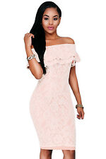 Pink Lace Nude Off-the-shoulder Dress Club Party Wedding Slit Sexy Women