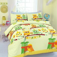 Kids Friendship Love Owl Duvet Quilt Cover With Pillow Cases Bedding Set