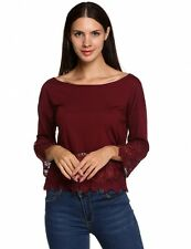 Women Casual Loose Patchwork Solid Tops Blouse