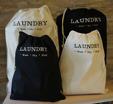 100% Cotton Embroidered Drawstring Laundry Bag. Large or Travel Size