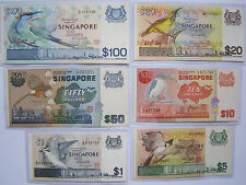 Rare SET of 6 SINGAPORE Bird Series Old Bank Notes $100 to $1 @ Legal Tender