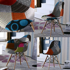 Charles Eames Style DAW DSW Chair Retro Modern Chair Patchwork Red Green Dining