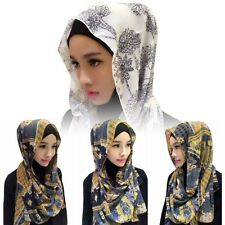 Muslim Chiffon Head Cover Hijab Islamic Headwear Scarf Arab Boho Shawl Headscarf