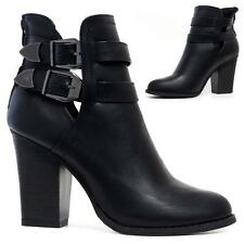Ladies Block Heel Zip Up Cut Out Military Combat Ankle Biker Chelsea Boots Shoes