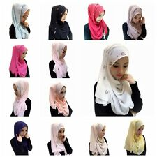 New Women Amira Islamic Long Maxi Chiffon Scarf Muslim Hijab Wrap Shawl Headwear