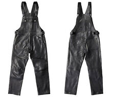 Men's Black Leather Bib Overalls New All Sizes 32,33,34,35,36,37,38,39