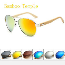 Real Bamboo Wood Temple Wayfarer & Aviator Style Mens Womens UV400 Sunglasses
