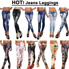 LEGGINS Hose JEANS-Destroyed-Look Leggings Jeggings Optik Neu Jeansleggins Neu