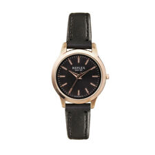 Reflex Ladies Quartz Analogue Black/Brown Leather Strap Watch