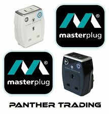 Masterplug Surge Protected Plug Through Twin USB Charger Black/White
