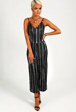 NEW WOMENS LADIES BLACK AND SILVER PLEATED JUMPSUIT CULOTTE STRIPE 8-14 UK