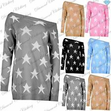 Womens Knitwear Seeing Star Sweater Dress Ladies Off The Shoulder Baggy Jumper