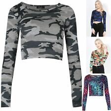 Womens Crop Printed Long Sleeve T Shirt Ladies Short Plain Round Neck Top 8-14