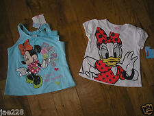 Brand New Baby Toddler Girls Disney Minnie Mouse Daisy Duck Tshirt Tops bnwt