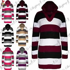 Womens Blocks Stripes Cricket Long Sleeves Knitted Hooded Jumper Top Mini Dress