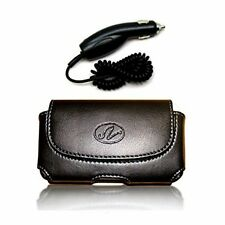 Package Deal Car Charger Adapter & Black Horizontal Leather Cover Belt Clip Side