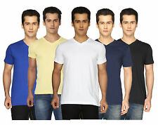 Joke Tees Solid Men's V-neck T-Shirts (Pack of 5)
