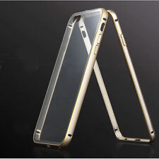 Aluminum Metal Bumper Frame Clear Back Case Cover SKin for iPhone 5S 6 6S Plus