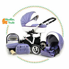 Pram Pushchair Buggy White Lux 3in1 With Car Seat Travel System/Lavender