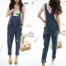 Womens Ladies Baggy Denim Jeans Full Length Jumpsuit