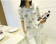 Women's Letters Print Pattern Casual 3/4  Short-sleeve Shirt