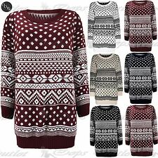 Womens Ladies Baggy Aztec Fairisle Christmas Knitted Long Sweater Jumper Dress