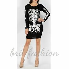 Womens Ladies FOIL PRINT HALLOWEEN SKELETON Bodycon Dress Leggings PLUS SIZE lot