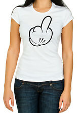 Funny Humor Cartoon Middle Finger Women Cotton, Crew Neck, Gildan white