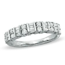 0.80ct Round Brilliant & Baguette Diamond Half Eternity Wedding Ring in Platinum
