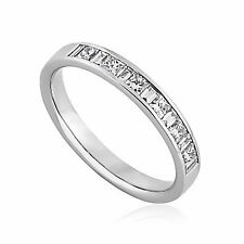 0.50 ct Princess and Baguette Cut Diamond Half Eternity Wedding Ring in Platinum
