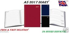 2017 A5 Diary Day to Page or Week to View Desk Diary Hard Backed Diary New Xmas