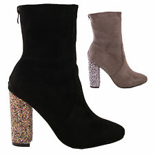 LADIES WOMENS GLITTER HIGH HEEL FAUX SUEDE ANKLE BOOTS FASHION PARTY STYLE SHOES