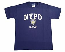 NYPD Kids Short Sleeve Screen Print T-Shirt Navy White Yellow New York Police