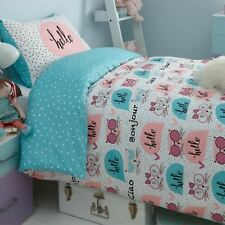 Duvet Cover with Pillowcase Bedding Set Kitty Reversible Hello Single Double