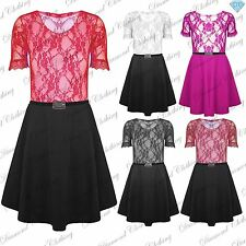 Womens Short Sleeves Contrast Lace Ladies Belted Flared Skater Dress Plus Size