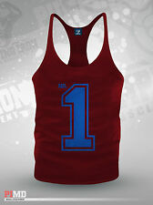 Number One No.1 Fitness Stringer Bodybuilding Gym Muscle Vest Gasp/ Zyzz NEW