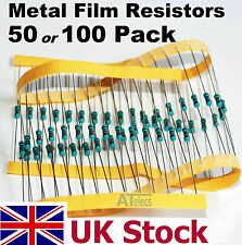 Resistors Metal Film 50, 100 pack, 1/4w 0.25w 1%, many values - UK Stock
